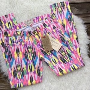 NWT current/Elliot neon arrow jeans